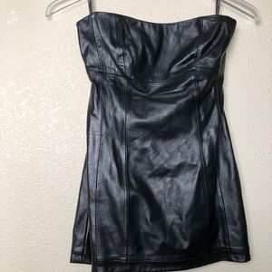 Bebe | Black Faux Leather Strapless Mini Dress XS